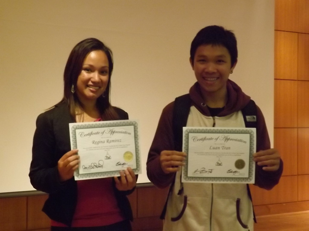 YouthWorks 2013 Scholarship Winners, Regina Ramirez and Luan Tran